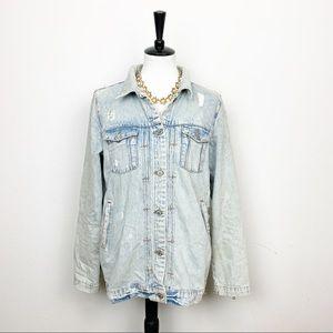 Zara Woman Distressed Jean Jacket Size Large